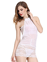 Women's  Ultra Sexy / Suits Nightwear Jacquard-Thin Spandex White / Black With Chest Wrap