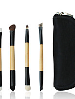 4 Makeup Brushes Set Goat Hair Professional / Portable Wood Handle Face/Eye