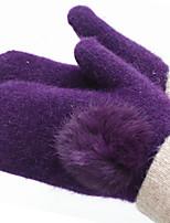 ms laine en hiver pour garder des gants chauds (lapin violet gants de boule de cheveux)