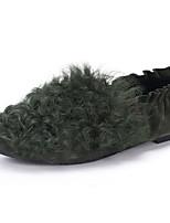 נשים-שטוחות-צמר פרווה-נוחות-שחור ירוק אפור-יומיומי-עקב שטוח
