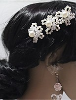 Women's Crystal Alloy Imitation Pearl Headpiece-Wedding Special Occasion Hair Pin 3 Pieces