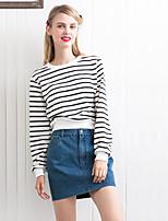 Tee-shirt Femme,Rayé Sortie simple Automne Manches Longues Col Arrondi Rose / Blanc Coton Moyen
