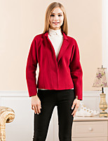 GATHER BEAUTY Women's Going out Simple CoatSolid V Neck Long Sleeve Winter Pink / Red / Black / Green Wool Medium