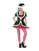 Christmas Costume /Holiday Halloween Costumes Green Solid Top / Stockings / Hats Christmas Female Terylene