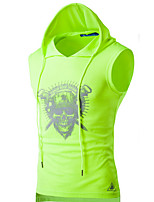 Men's Casual/Daily / Sports Active Summer T-shirtSolid Hooded Sleeveless White / Black / Gray / Green Cotton Thin