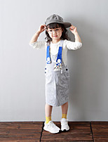 Girl's Casual/Daily Striped Dress / Overall & JumpsuitCotton Spring / Fall Blue