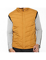 Men's Regular Down Coat,Simple Casual/Daily Solid-Polyester White Duck Down Sleeveless Stand Yellow