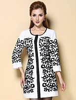 AINIER Women's Casual/Daily Simple CoatJacquard Round Neck  Sleeve Fall White Polyester Thin