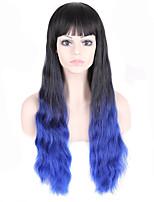 estilo de moda peruca de cabelo ondulado longo com franja preta e azul cor ombred perucas sintéticas para as mulheres