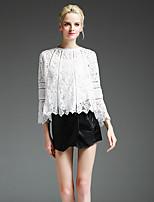 Tee-shirt Femme,Couleur Pleine Sortie Mignon Automne Manches Longues Col Arrondi Blanc Polyester / Spandex Moyen