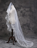 Wedding Veil Two-tier Fingertip Veils Pearl Trim Edge Tulle