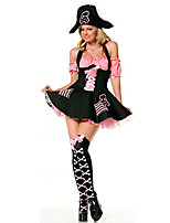 Cosplay Costumes Pirate Halloween Black / Pink Print Cotton Dress / Briefs / Hat