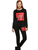 Women's Going out / Sports Simple / Active All Seasons Set PantLetter Round Neck Long Sleeve Black / Gray Cotton