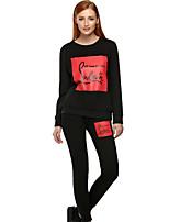 Set Pantalon Costumes Femme,Lettre Sortie / Sportif simple / Actif Toutes les Saisons Manches Longues Col Arrondi Noir / GrisCoton /