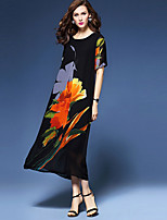 Women's Plus Size / Going out Chinoiserie Loose DressFloral Round Neck Maxi  Length Sleeve Black Polyester Summer