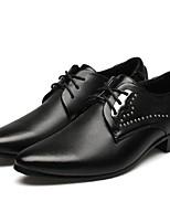Черный-Мужской-Свадьба / Для офиса-КожаУдобная обувь-На плокой подошве