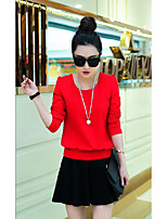 Women's Casual/Daily Simple Fall Skirt Suits,Solid / Striped Round Neck Long Sleeve Red / White / Black / Green / Orange Cotton Medium