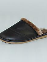 M.livelihood.H Men's Slippers & Flip-Flops Winter Slingback Cowhide Casual Flat Heel Others Black Others-YQ201604