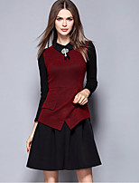 YICHAOFUSHI Women's Going out Street chic Sheath DressColor Block Shirt Collar Above Knee Long Sleeve Red Polyester - OMQ-Y2180-240