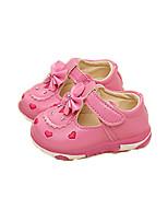 Women's Flats Spring / Fall Comfort PU Outdoor / Casual Flat Heel Bowknot / Hook & Loop Pink / Red / White Walking