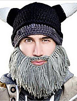 Men Winter Halloween Personalized Tassel Sharp Corners Horns Beard Hand Knitting Wool Warm Hat