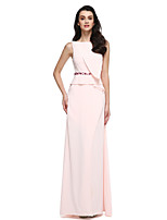 2017 TS Couture® Prom Formal Evening Dress Sheath / Column Bateau Floor-length Chiffon with Beading / Split Front