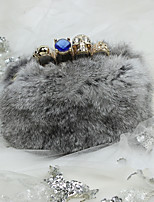 Women Rabbit's Hair Fur Formal / Casual / Event/Party Ring Evening Bag
