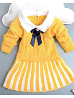 Girl's Casual/Daily Striped DressAcrylic Winter / Spring / Fall Red / White / Yellow