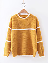 Women's Casual/Daily Simple Regular Pullover,Striped White / Gray / Yellow Round Neck Long Sleeve Cashmere / Polyester Fall / Winter