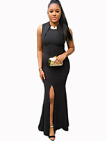 Women's Party/Cocktail / Club Sexy Split Bodycon / Trumpet/Mermaid DressSolid Round Neck Maxi Sleeveless