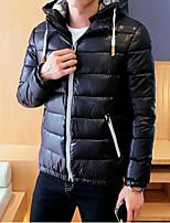 Herren Daunen Mantel,Standard Einfach Lässig/Alltäglich Solide / Druck-Polyester Weiße Entendaunen Langarm Blau / Schwarz / LilaMit