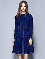 YICHAOFUSHI Women's Going out Street chic Sheath DressStriped Crew Neck Above Knee Long Sleeve Blue Polyester -OMQ-Y1609-240