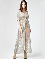 Women's Beach Boho Chiffon Dress,Print V Neck Maxi ¾ Sleeve Beige Polyester Summer High Rise Inelastic Thin