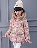 Girl's Casual/Daily Floral Down & Cotton Padded,Polyester Winter Pink