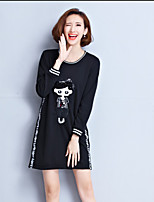 Women's Plus Size / Going out Simple / Cute / Active Shift Dress,Solid / Color Block / Embroidered Round Neck Above Knee Long Sleeve Black