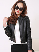 Women's Casual/Daily Simple Leather Jackets,Solid Long Sleeve Winter Black PU