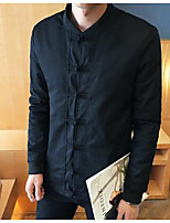Men's Casual/Daily Simple Jackets,Solid Stand Long Sleeve Fall Black Linen Medium