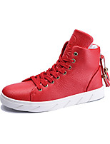 Men's Sneakers Fall Winter Comfort PU Casual Flat Heel Lace-up Black Red White Walking