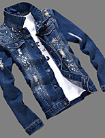 Men's Casual/Daily Vintage Denim JacketsSolid Shirt Collar Long Sleeve Spring / Winter Blue Cotton / Polyester Medium