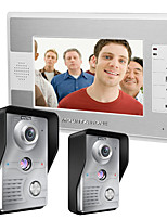 MOUNTAINONE 7 Inch Video Door Phone Doorbell Intercom Kit 2-camera 1-monitor Night Vision
