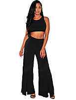 Women's Casual/Daily / Sports Sexy / Simple Racerback Wide Leg Spring / Fall Tank Top PantSolid U Neck Sleeveless Medium