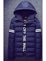 Men's Padded Coat,Simple Casual/Daily Solid-Polyester Polyester Long Sleeve Hooded Blue