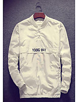 Men's Casual/Daily Simple Jackets,Solid Long Sleeve Fall White Polyester Thin