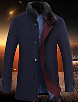 Men's Casual/Daily Simple Coat,Solid Long Sleeve Fall / Winter Blue / Gray Wool Thick