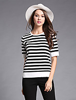 Women's Casual/Daily Simple Regular Pullover,Striped Black Round Neck Long Sleeve Nylon Fall Medium Micro-elastic