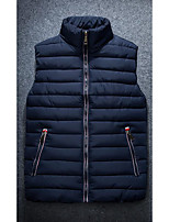 Men's Long Down Coat,Simple Casual/Daily Solid-Polyester Without Filling Material Sleeveless Blue / White / Black