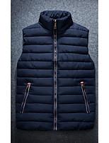 Пальто Простое Длинная Пуховик Мужчины,Однотонный На каждый день Полиэстер Без наполнителя,Без рукавов Синий / Белый / Черный