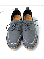 Women's Oxfords Spring Summer Fall Winter Comfort PU Casual Flat Heel Lace-up Gray Camel Others