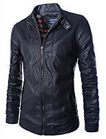 Men's Casual/Daily Simple Leather JacketsSolid Stand Long Sleeve Fall / Winter Black PU