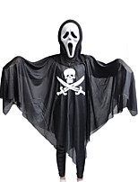 Halloween Cosplay Long-sleeved Black Masquerade Ghost Pirate Skeleton Sickle Printing Clothing